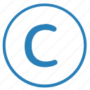 author, c, copy, copyright, reserved, rights icon