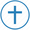 christian, cross, religion, round icon