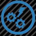 danger, engine, error, function, gear, message, shock icon