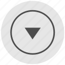 bottom, down, geo, navigation, round, service icon