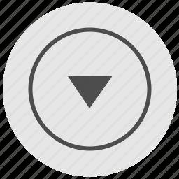 bottom, down, geo, navigation, round, service icon