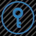access, function, key, password, pin, round icon