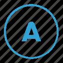 a, alphabet, greek, latin, letter, round icon