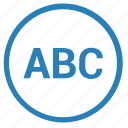 abc, list, player, playlist, round icon