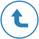 function, left, round, top, turn, way icon
