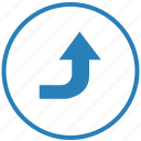 function, right, round, top, turn, way icon