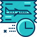 airplane, boarding, clock, flight, ticket, time, travel icon