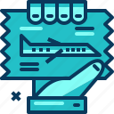 airplane, blue, flight, hand, ticket, travel icon
