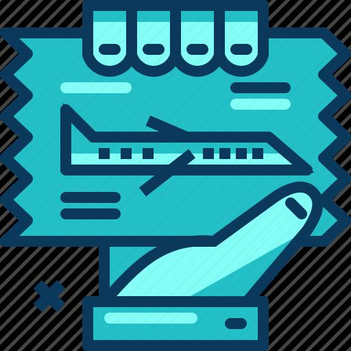 airplane, blue, flight, hand, ticket, travel icon