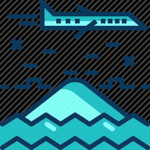 airplane, blue, flight, mountain, travel, view icon