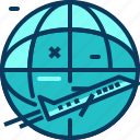 airplane, blue, flight, travel, world icon
