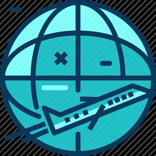airplane, blue, flight, travel, world icon