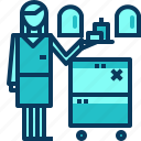 airhostess, airplane, blue, drink, food, service, travel icon