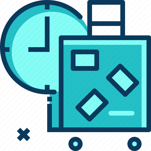 bagage, blue, clock, time, travel icon