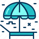 beach, blue, deckchair, tent, travel, umbrella icon