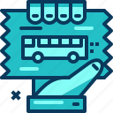 blue, bus, hand, ticket, transportation, travel icon