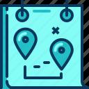 blue, calendar, location, management, pin, plan, travel icon