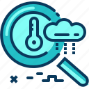 blue, check, raining, search, temperature, travel, weather icon