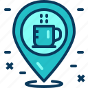 cafe, coffee, drink, location, map, pin, place icon