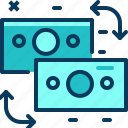 blue, exchange, money, transfer, travel icon