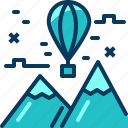 balloon, blue, float, mountian, travel, view icon