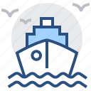 by, delivery, sea, ship, shipping, transport, vessel icon
