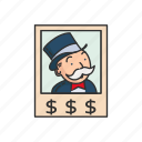 boardgames, games, monopoly, pennybags, rich uncle penybag, strategy game icon