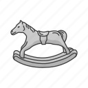 boardgames, games, horse, miniature, monopoly, rocking horse, toy icon