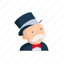 boardgames, game piece, games, pennybags, rich uncle pennybags, strategy game icon