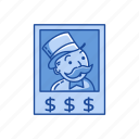 boardgames, game piece, games, monopoly, rich uncle penyybags, strategy game icon