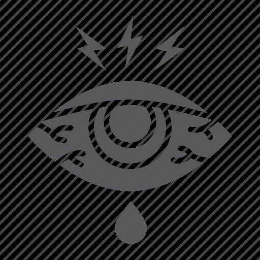 body, disease, eye, injure, redness, sick, sore icon
