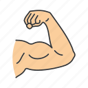 arm, bicep, body part, elbow, hand, male, muscle icon