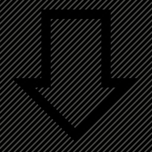 align, arrow, bottom, down, orientation, vertical icon