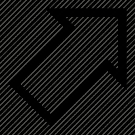 align, arrow, orientation, position, right, top icon