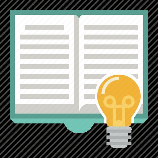 book, bulb, idea icon