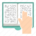 book, braille, hand, reading icon