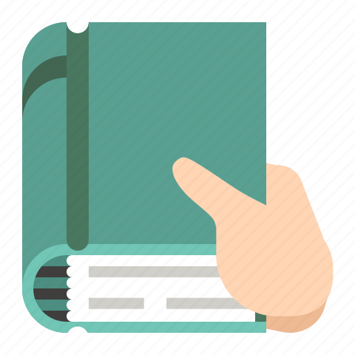 book, hand, holding, knowledge icon