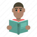 book, learning, man, reading icon