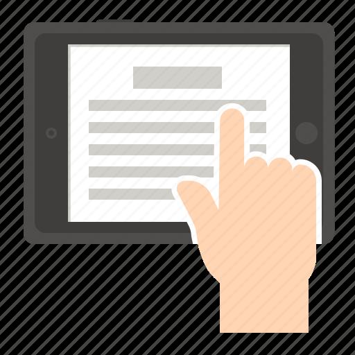 ebook, ereader, reading, tablet icon