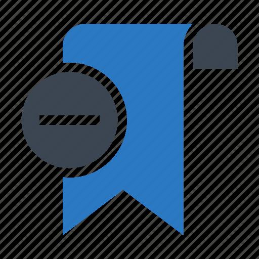 bookmark, minus, remove, ribbon, tag icon