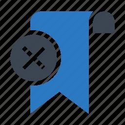 bookmark, delete, remove, ribbon, tag icon