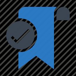bookmark, done, ribbon, tag, tick icon