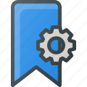 bookmark, settings icon