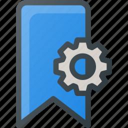 bookmark, settings icon