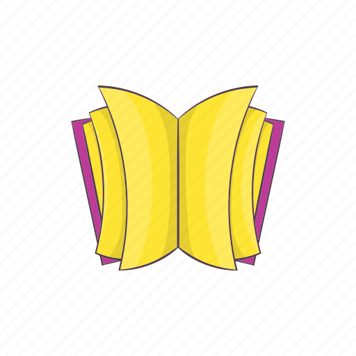 book, cartoon, education, learning, open, sign, thick icon