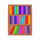books, cartoon, education, learning, literature, shelf, sign icon