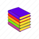 books, cartoon, education, learning, literature, sign, stack icon