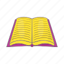 book, cartoon, education, learning, open, sign, text icon