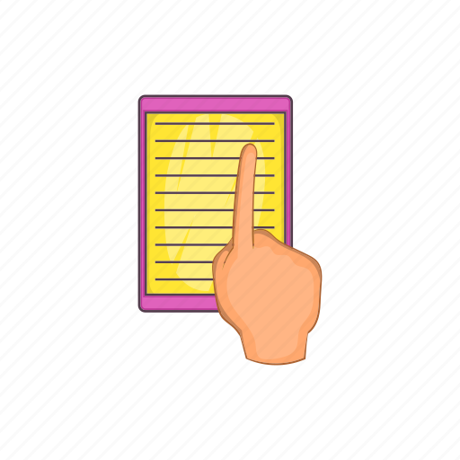cartoon, e-book, education, hand, learning, literature, sign icon