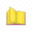 book, cartoon, education, learning, literature, open, sign icon